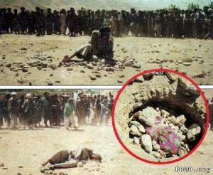 سنگسار زن و مردی عاشق در افغانستان ۲۰۱۰ (عکس تزئینی است)